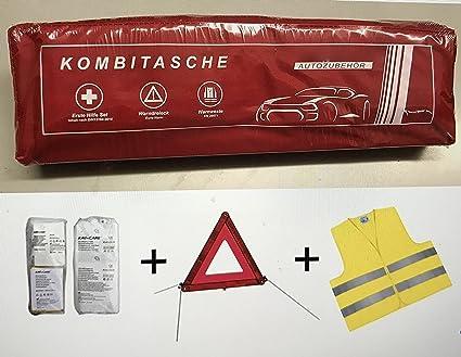 PKW KFZ Verbandkasten Verbandtasche Warndreieck Warnweste Erste Hilfe Kombitasche rot, Erste Hilfe nach DIN 13164 + Warndreie