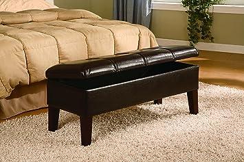 Coaster Button Tufted Design Storage Bench, Brown Leatherette