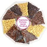 Sweet Wishes 900g Fondue-Schokolade aus Belgien Schoko-Mix aus Vollmilch, Zartbitter & Weiß - für Schoko-Brunnen Fondue-Sets - 10 Portionsbeutel einzeln verpackt