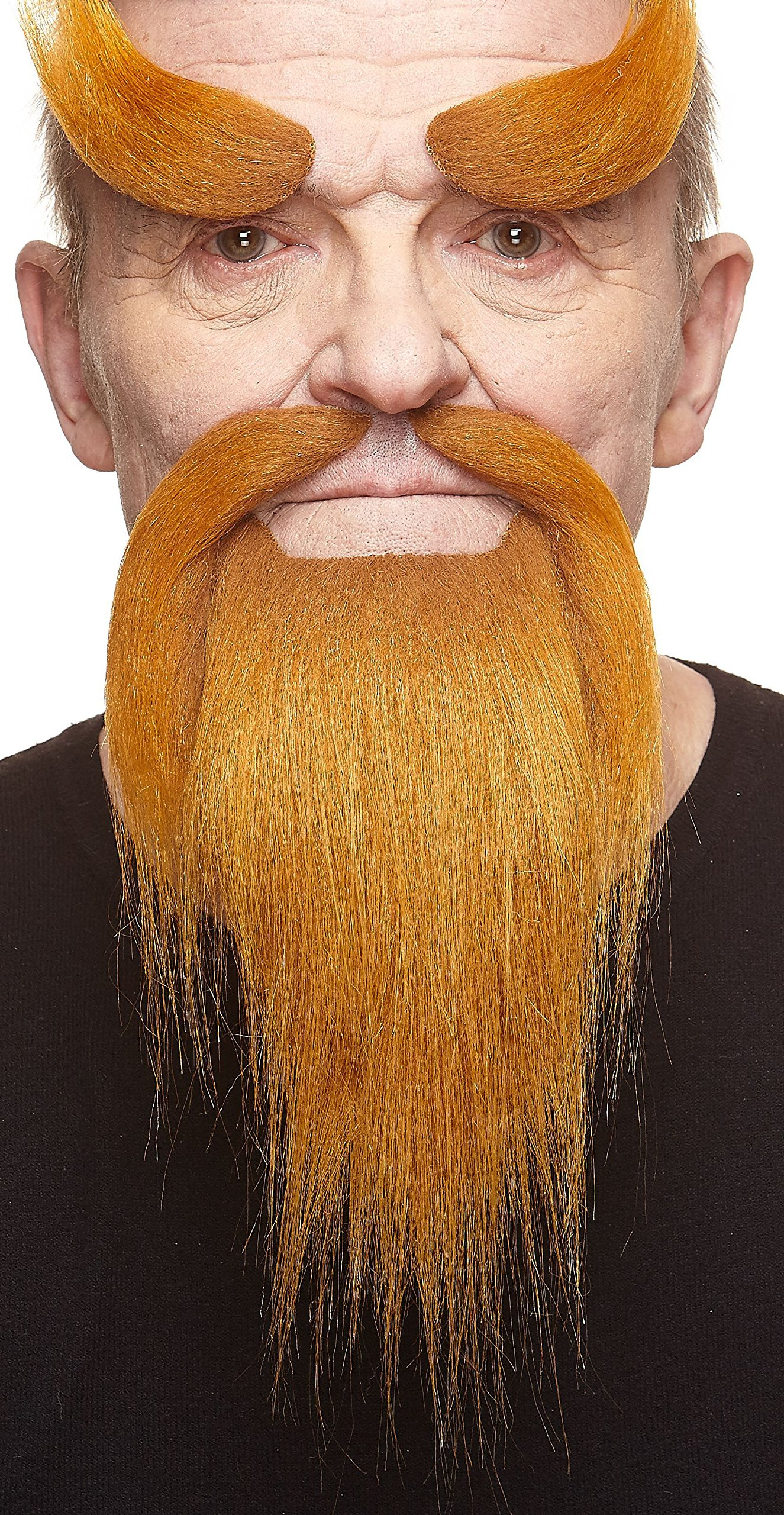 Mustaches Self Adhesive, Novelty, Fake Shaolin Monk Beard, and Eyebrows, Ginger Color