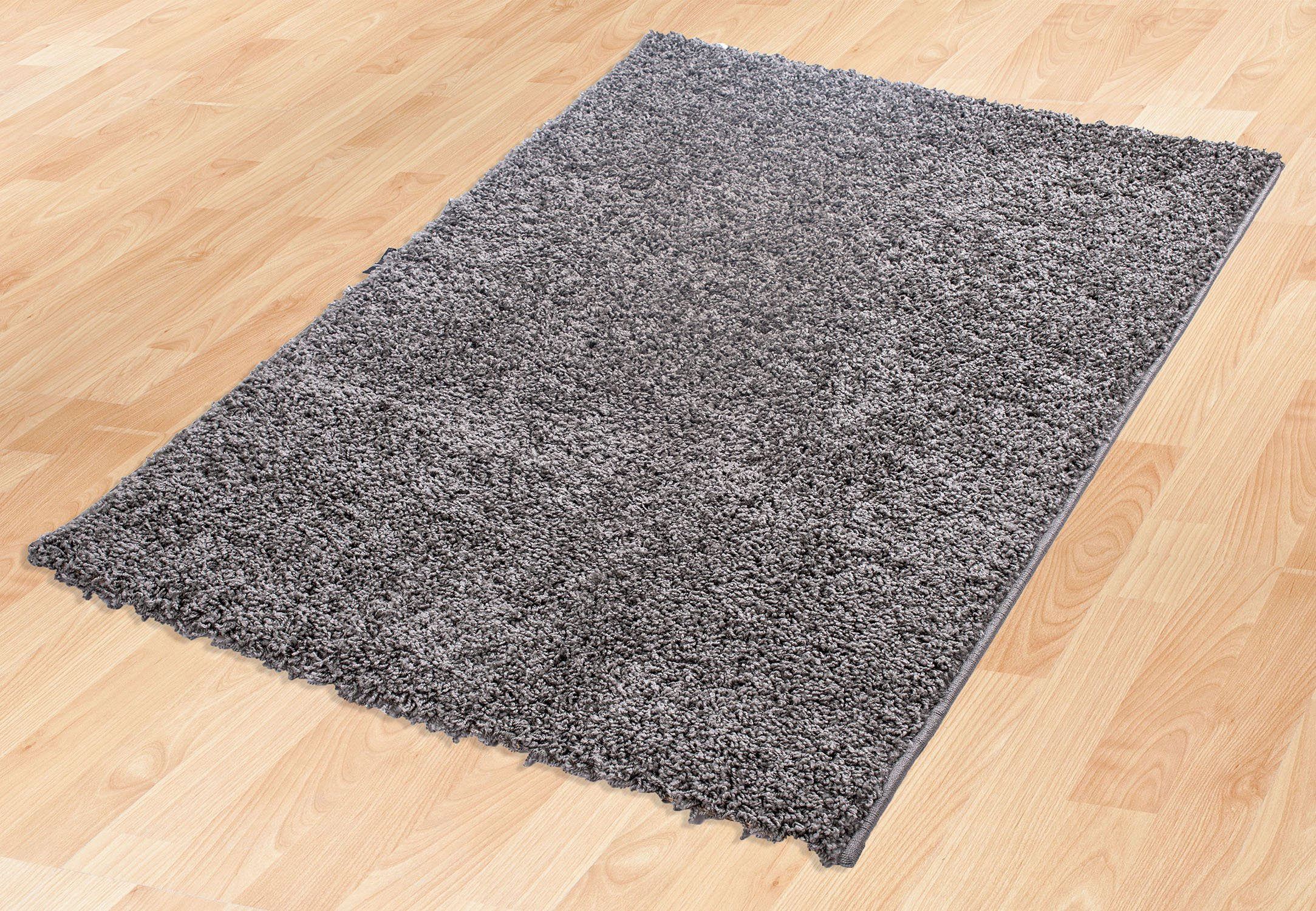 Ottomanson Soft Cozy Color Solid Shag Area Rug Contemporary Living and Bedroom Soft Shag Area Rug, Grey, 7'10'' L x 9'10'' W by Ottomanson (Image #2)