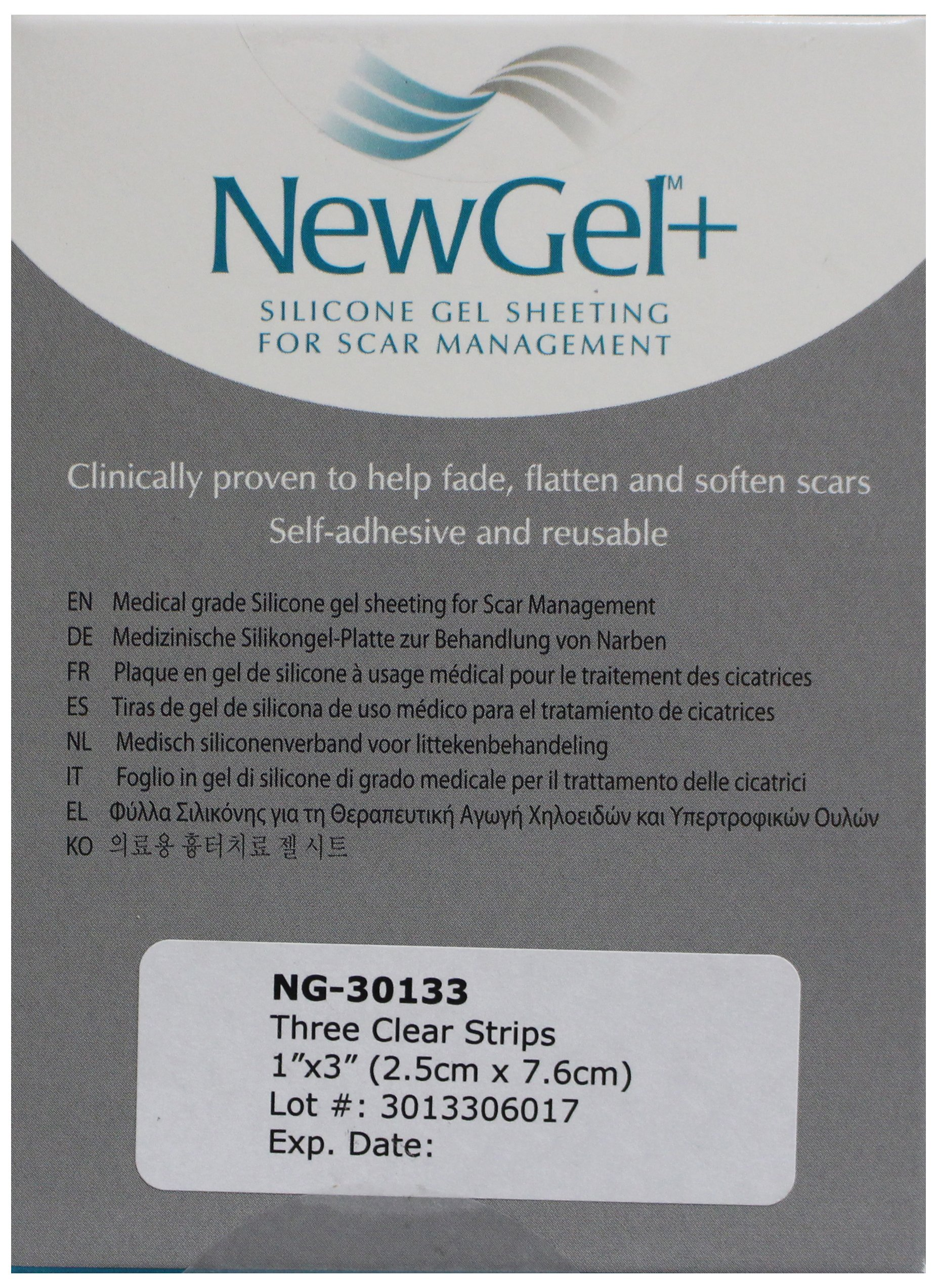 NewGel+ Silicone Gel Sheet for Scars, 1 x 3 Inch, Clear, 3 Count by NewGel+
