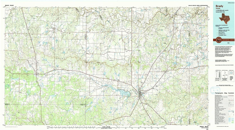 Amazon Com Yellowmaps Brady Tx Topo Map 1 100000 Scale 30 X 60