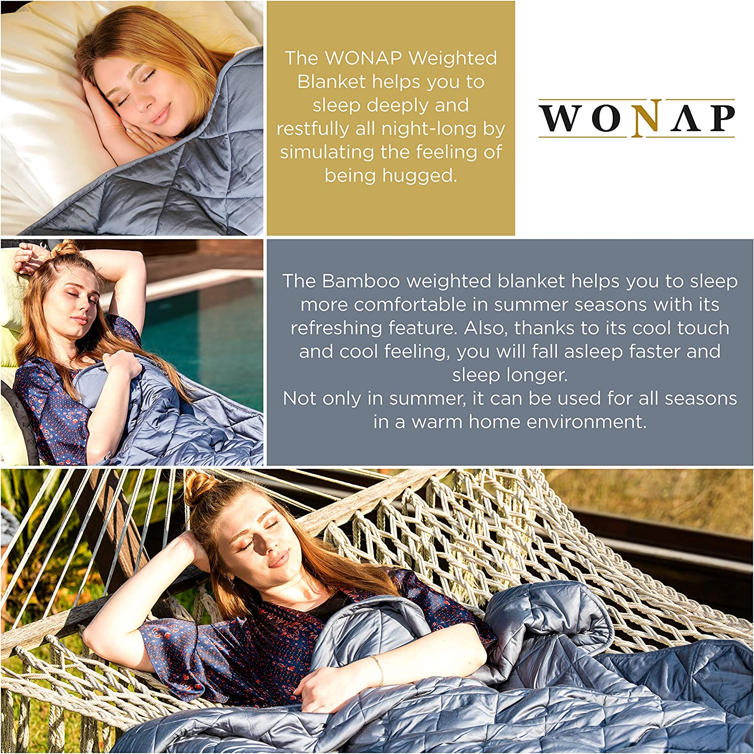 """WONAP Bamboo Weighted Blanket Adult   Cooling Touch   15 lbs   48""""x78"""" Twin Size   100% Natural Bamboo Viscose with Premium Glass Beads   Heavy Blanket"""