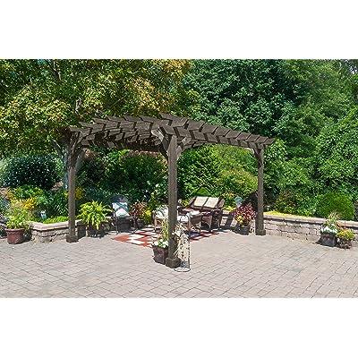 YardCraft 10x12 Pine Pergola Kit (Cinder): Garden & Outdoor