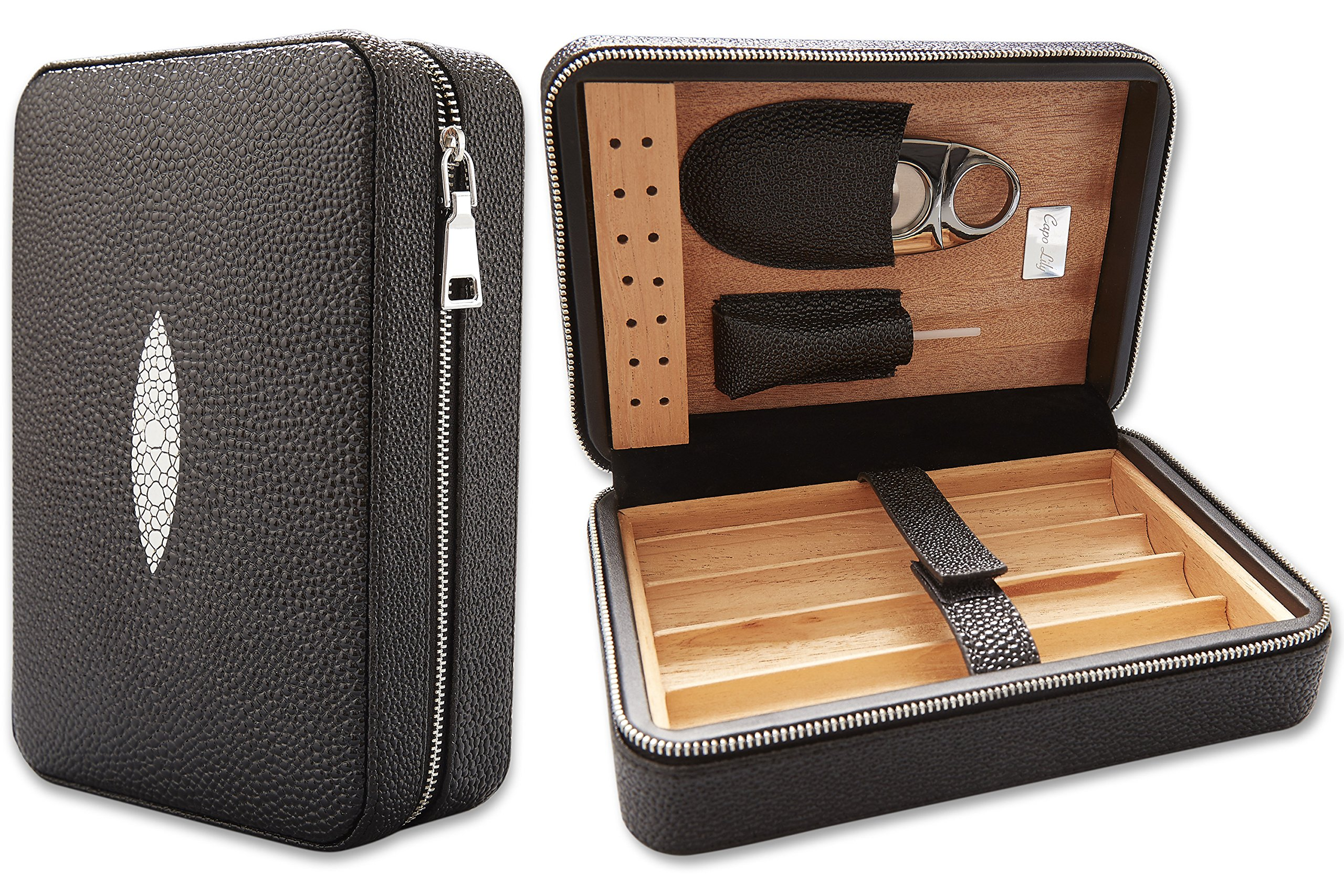 Capo Lily Cigar Humidor, Travel Portable Case with Cutter, PU Leather Wooden Box for 4 Cigars by Capo Lily (Image #4)