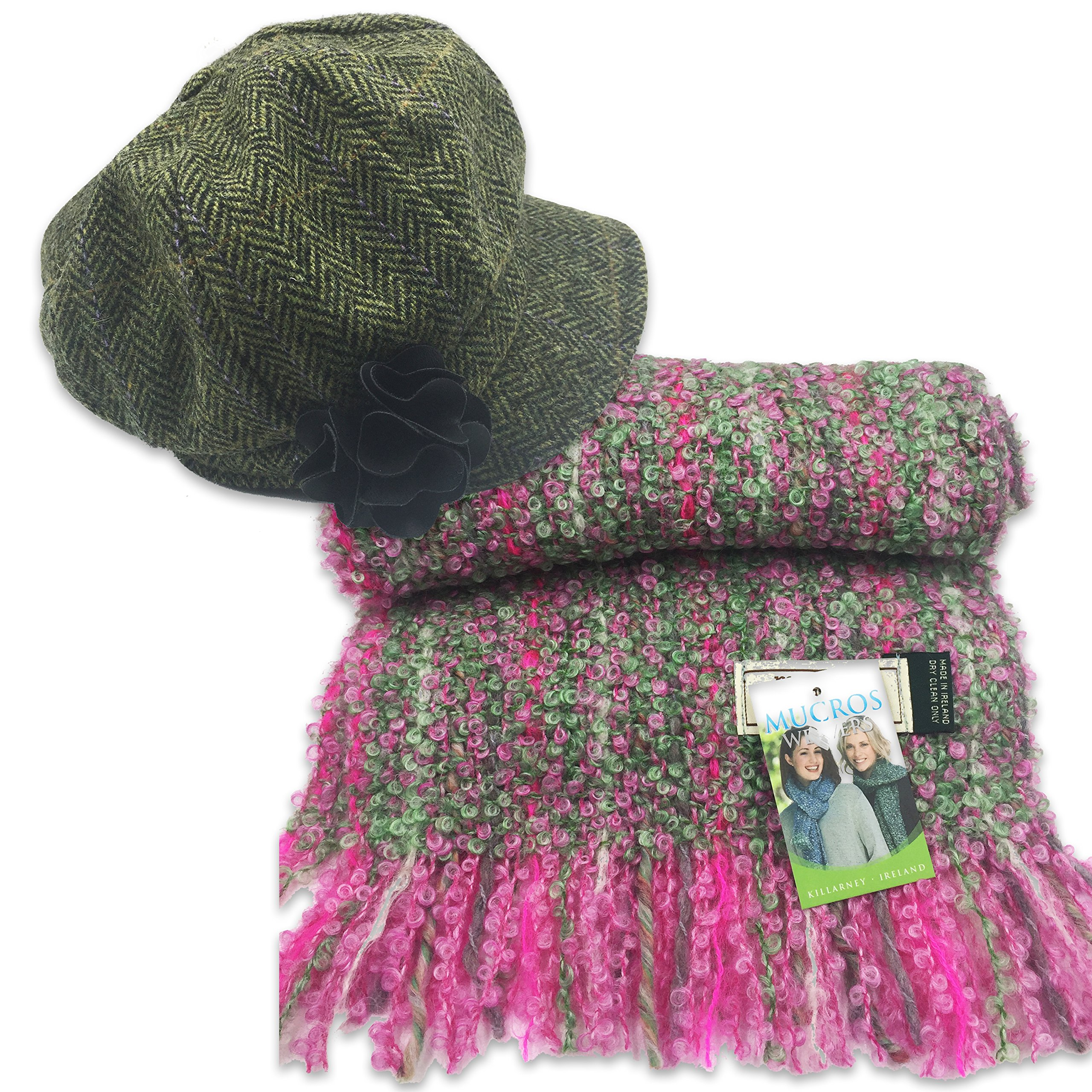 Mucros newsboy Cap (Green) and Mohair Viscose Scarf Set (Green and Pink)