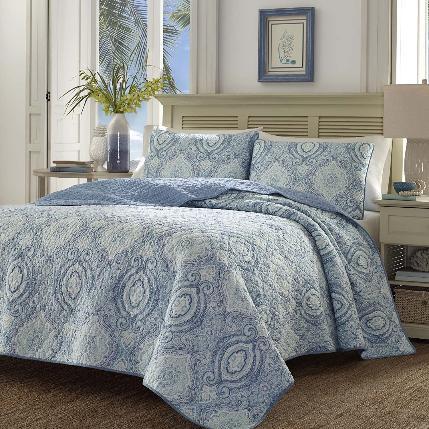 Tommy Bahama 220637 Turtle Cove Caribbean Quilt Set, King, Carribean Blue