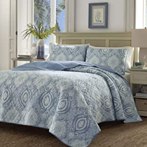 Tommy Bahama 220636 Turtle Cove Caribbean Quilt Set, Full/Queen, Carribean Blue