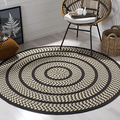 Safavieh Braided Collection BRD401E Hand Woven Ivory and Dark Brown Round Area Rug 6 Diameter