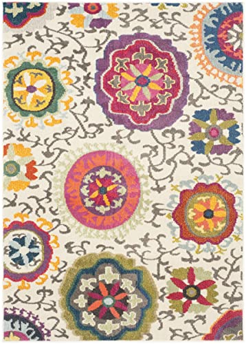 Safavieh Monaco Collection MNC233A Modern Colorful Floral Ivory and Multicolored Area Rug 3 x 5