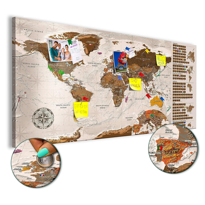 superficie scrivibile e cancellabile Mappa del mondo da grattare con le bandiere Mappa da grattare k-A-0225-o-b murando Mappamondo da grattare 100x50 cm Beige Mappa del mondo Laminata