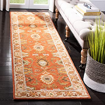 Amazon Com Safavieh Heritage Collection Hg734d Handmade Traditional Oriental Premium Wool Runner 2 6 X 6 Rust Beige Furniture Decor