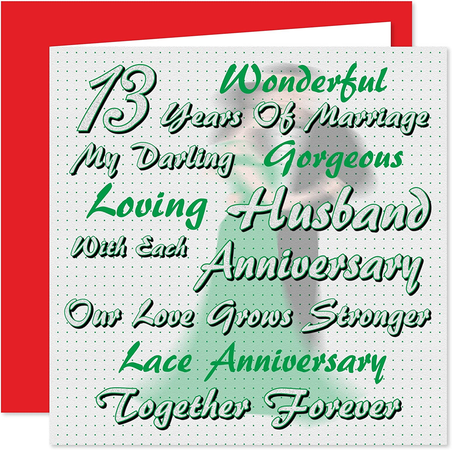 My Husband 13th Wedding Anniversary Card On Our Lace Anniversary I Love You 13 Years Together Forever Amazon Co Uk Office Products