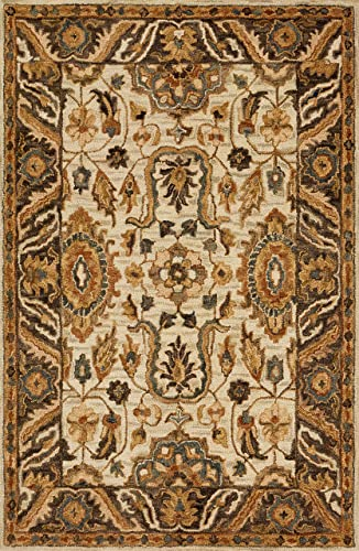Loloi VK-02 Victoria Collection Persian Wool Area Rug 9 -3 X 13 Ivory Dk Taupe