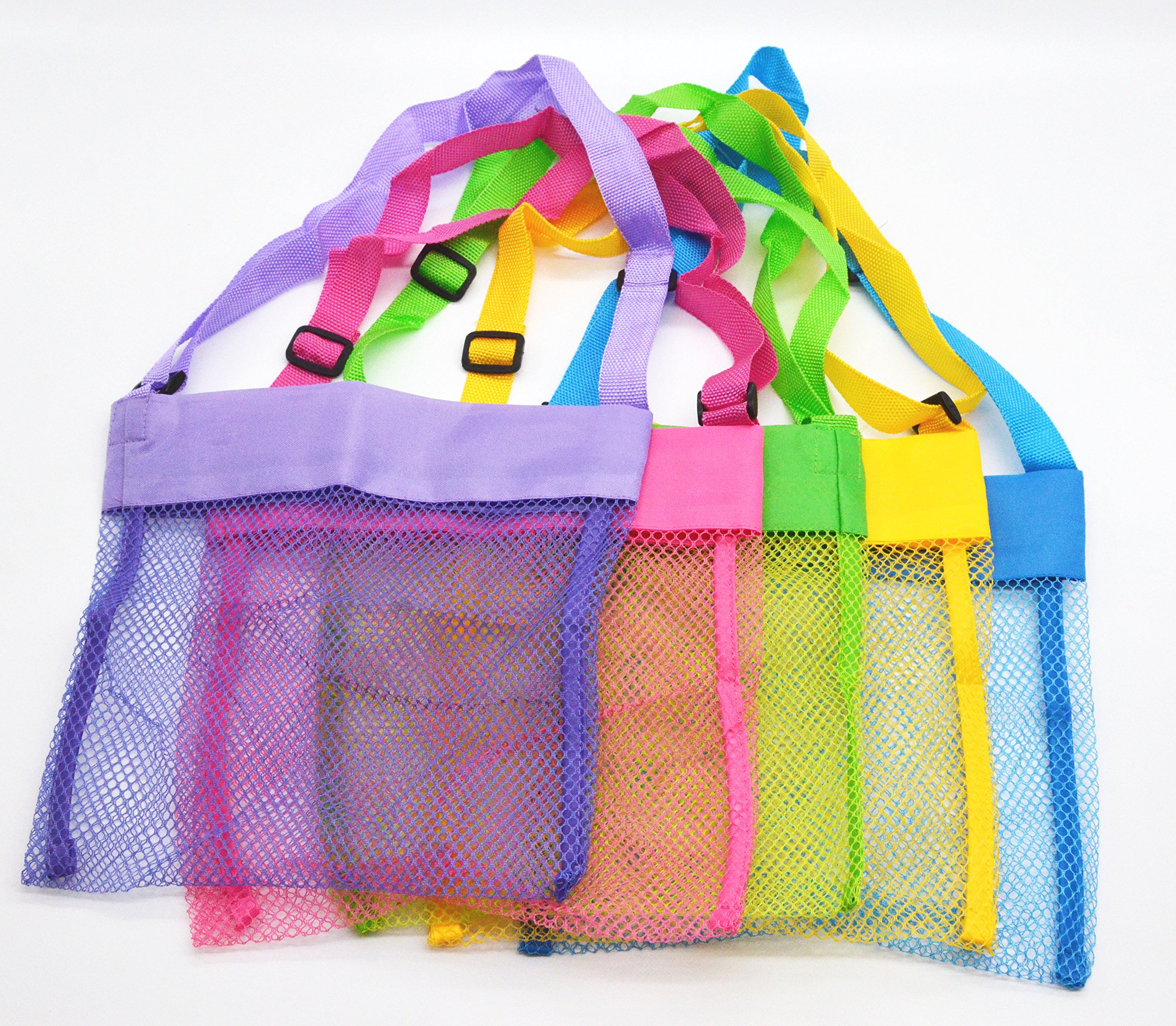 Mesh Beach Bags,Shenglong Seashell Mesh Bags(Set of 5)