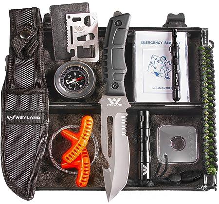 WEYLAND Outdoor Survival Kit – Survival Gear Kit, Camping Survival Kit, Hiking Survival Kit, Survival Pack, Tactical Survival Kit, Zombie Survival Kit, Military Gear, Bugout Bag Survival Kit, EDC Kit