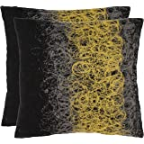 Safavieh Pillow Collection 18-Inch Modern Spirals Pillow, Black, Yellow and Grey Embroidered, Set of 2