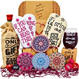 VINAKAS Happy Birthday Gift Basket for Women for Her: 2 Pairs of Funny Socks, Funny Glass, Coasters, Bottle stoppers and a Bo
