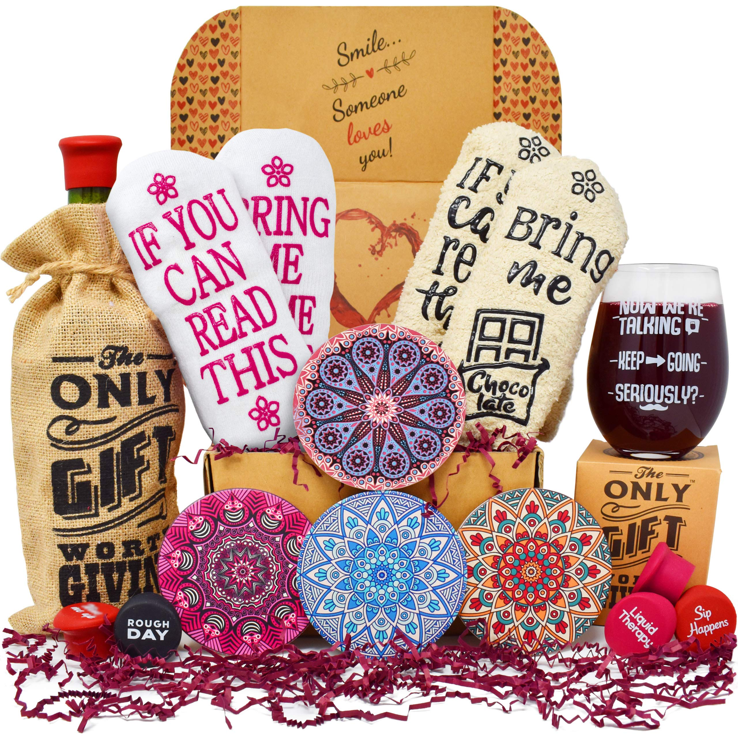 Gift Baskets for Women Best Birthday Gifts For Her: 2 pairs of Funny socks, Funny glass, Coasters, Bottle stoppers and a Bottle tote. Best friend gifts for women Birthday Gift Box by The Only Gift Worth Giving