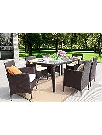 Baner Garden Outdoor Furniture Complete Patio 7Piece Pe Wicker Rattan  Garden Dining Set, Chocolate (