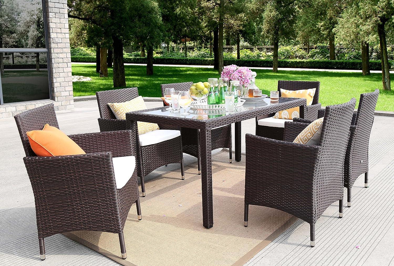Baner Garden Outdoor Furniture Complete Patio 7Piece Pe Wicker Rattan Garden Dining Set Brown N16-BR