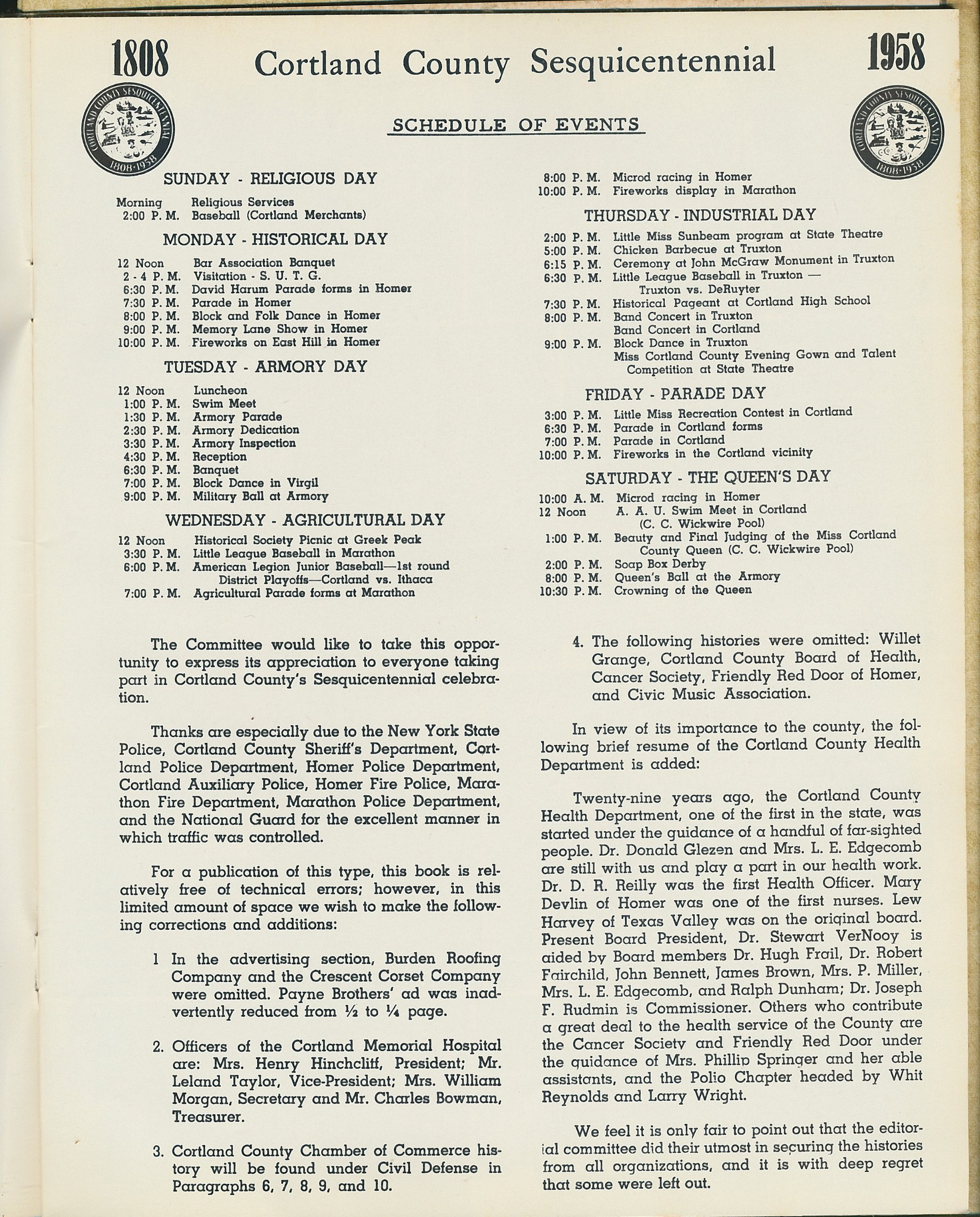 Page from Souvenir Booklet Sesquicentennial