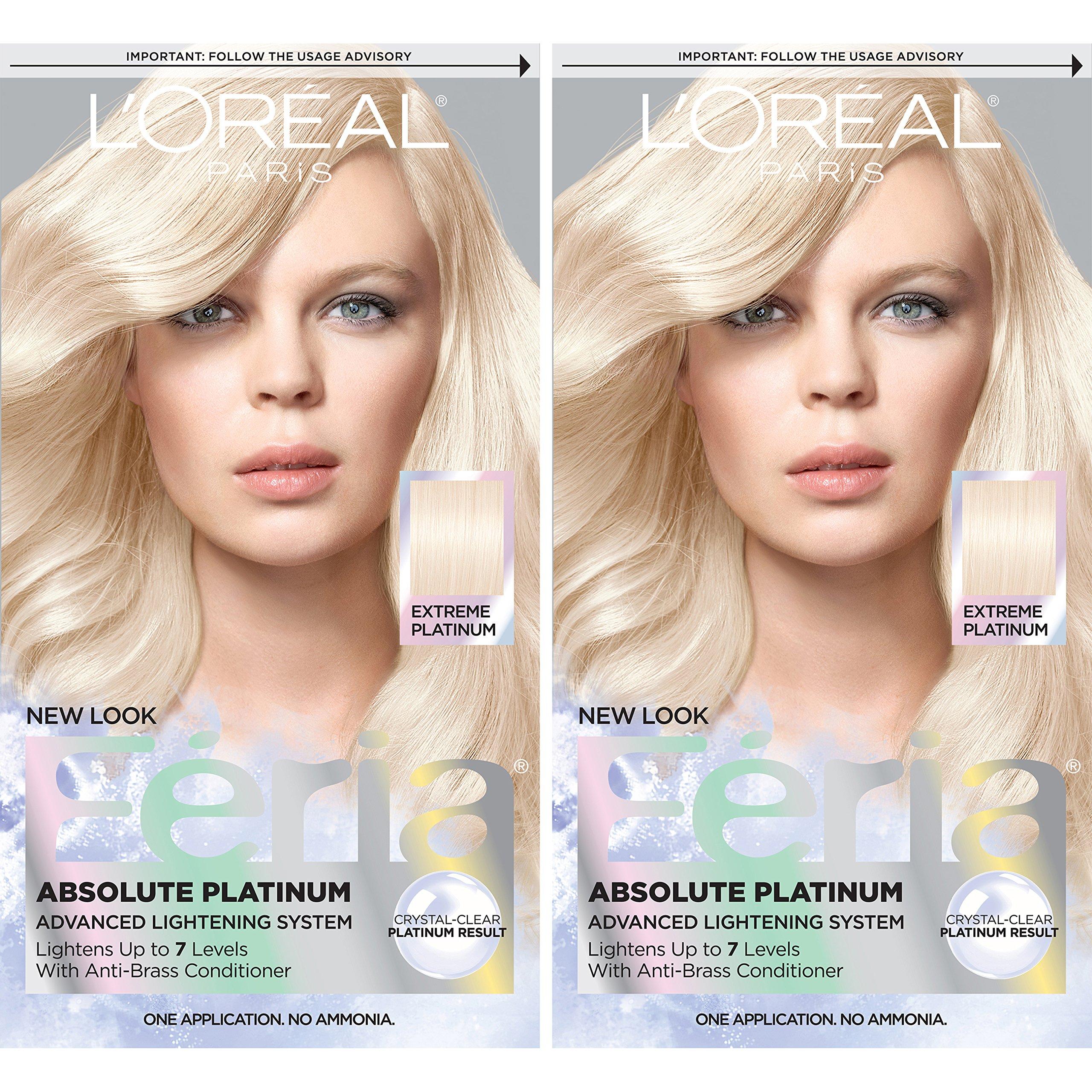 L'Oreal Paris Feria Permanent Hair Color, Extreme Platinum, 2 Count