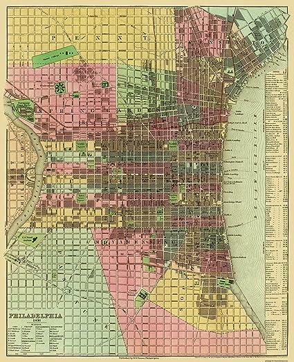 Amazon.com: Old City Map - Philadelphia Pennsylvania - 1836 ...