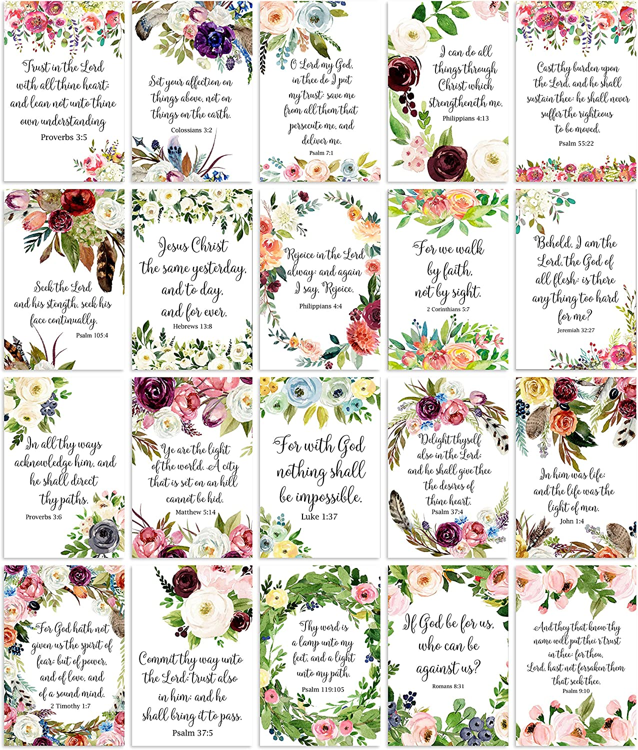 Christian Wall Art - Bible Verses for Home Church or Office Décor. Great Christian Gift. Ready to Frame. Inspiring & Encouraging Verses for All. 6 x 4 inch 20 mixed prints.