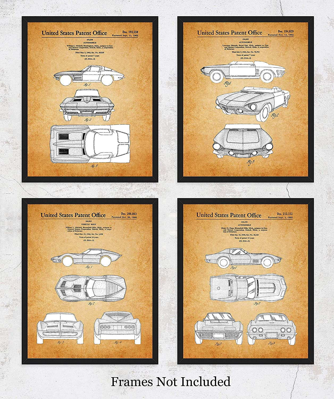 Marvelous Vintage Corvette Patent Wall Art Prints Unique Room Decor For Boys Men Girls Women Set Of Four 8X10 Unframed Pictures Great Gift Idea For Download Free Architecture Designs Scobabritishbridgeorg