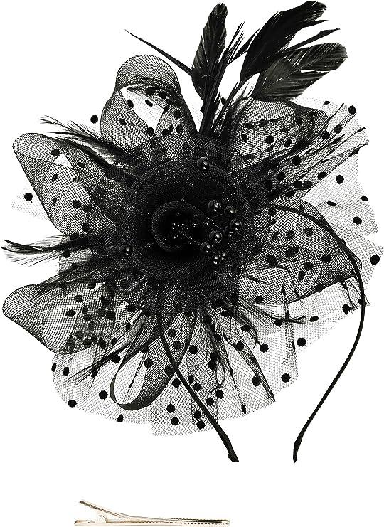 KASTE Fascinators Hat for Derby Wedding Women Tea Party Headband Kentuck Cocktail Flower Mesh Feathers Hair Clip