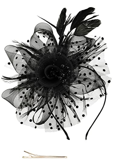 9f74acec8b8 Fascinators Hat for Women Tea Party Headband Kentucky Derby Wedding  Cocktail Flower Mesh Feathers Hair Clip
