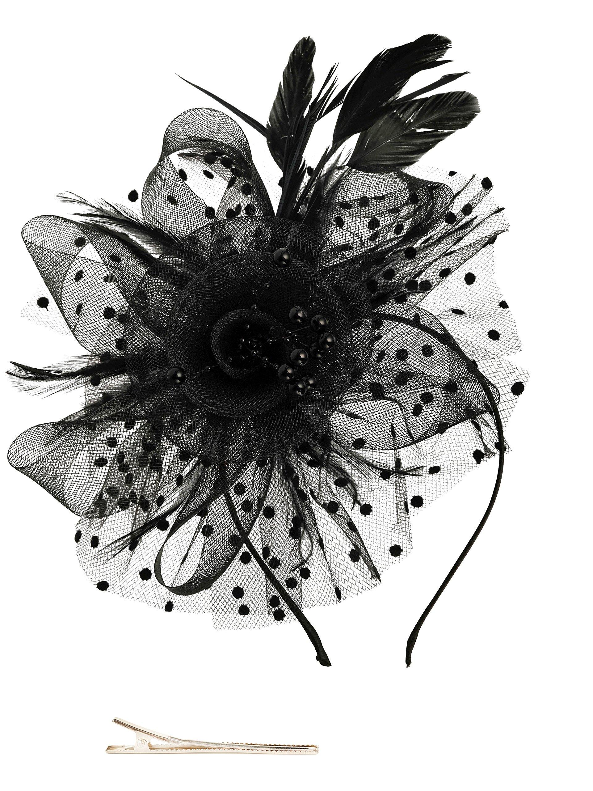 Fascinators Hat for Women Tea Party Headband Kentucky Derby Wedding Cocktail Flower Mesh Feathers Hair Clip (1-Black)