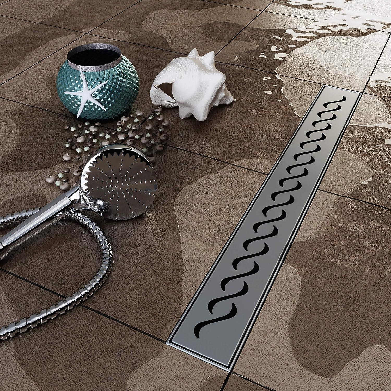 und Duschablauf 50 cm Kurze Wellen Silber VILSTEIN VS-DB01-50S Duschrinne mit Siphon Ablaufrinne Boden