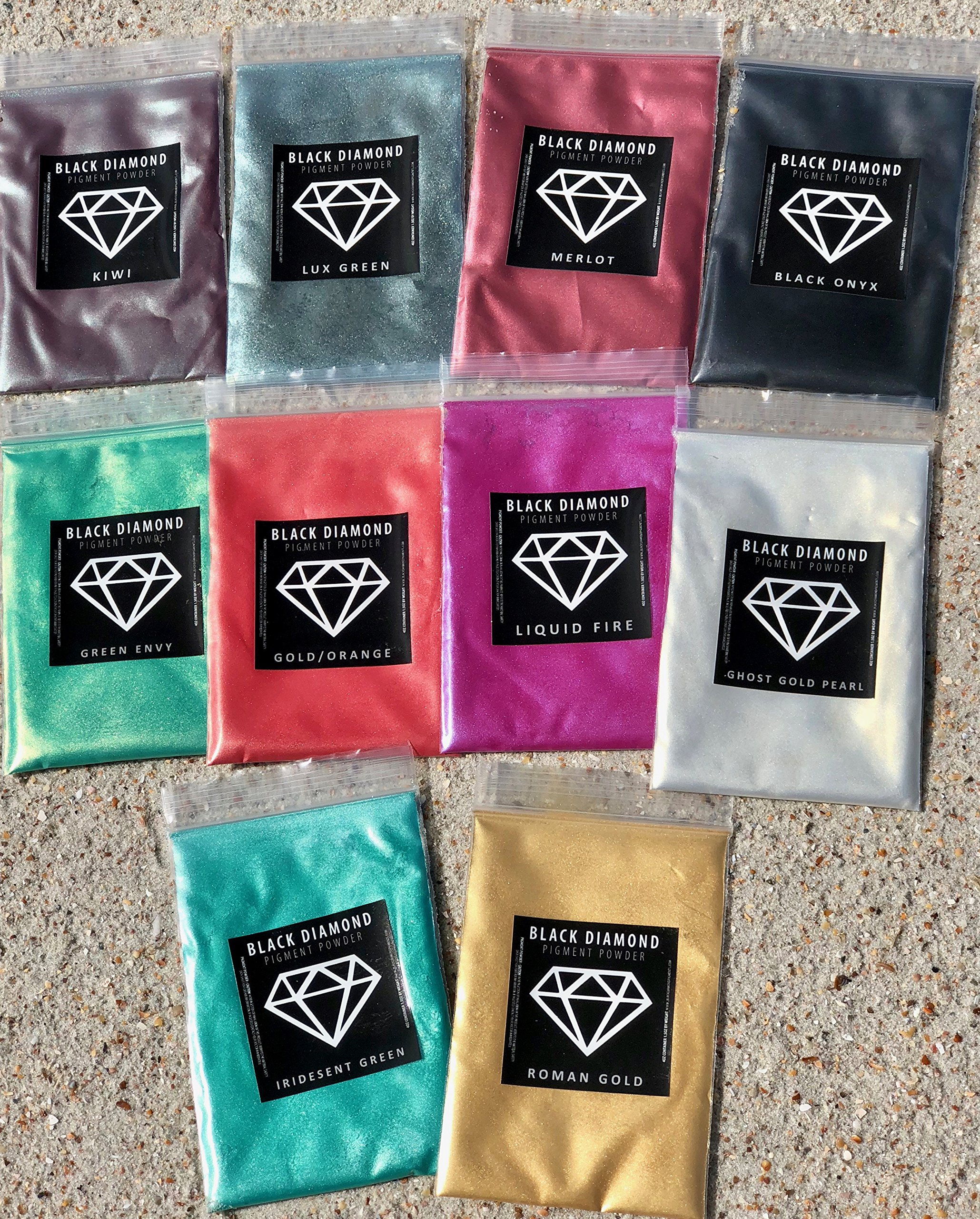Variety Pack 5 (10 Colors) Mica Powder Pure, Lux, Glitter, Ghost and Diamond Series Variety Pigment Packs (Epoxy,Paint,Color,Art) Black Diamond Pigments