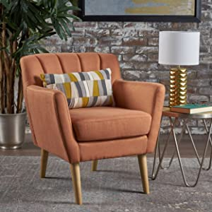 Christopher Knight Home 301452 Madelyn Mid Century Modern Fabric Club Chair (Orange)