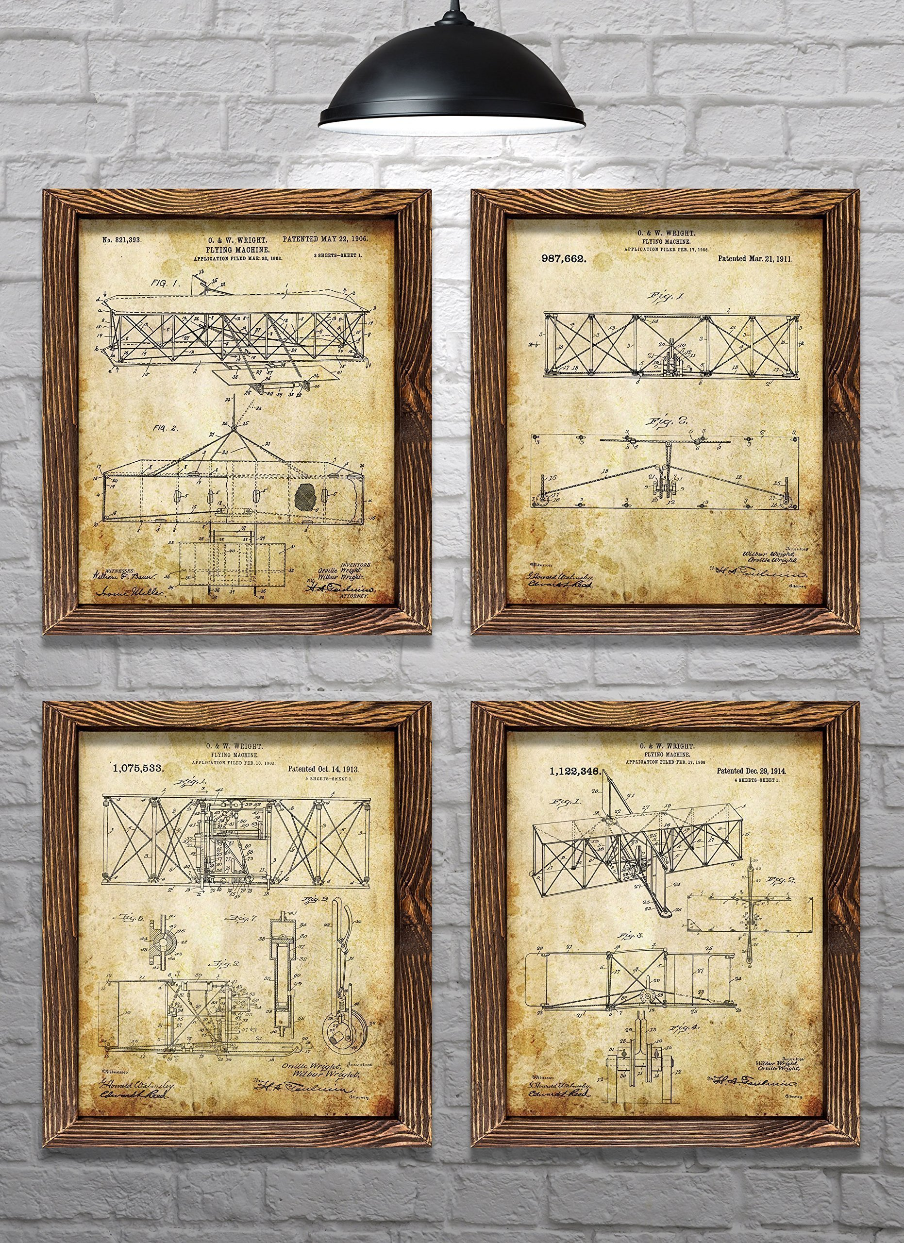 Gifts for Pilots! - Wright Brothers Flyer Patents - First Flight - Set of Four - 8x10'' Prints - Aviation Gifts!