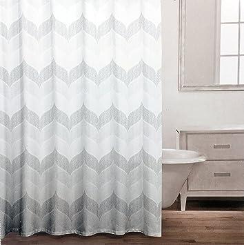 Caro Fabric Shower Curtain Muted Beige Tan Gray Geometric Wavy Chevron Pattern Charlotte