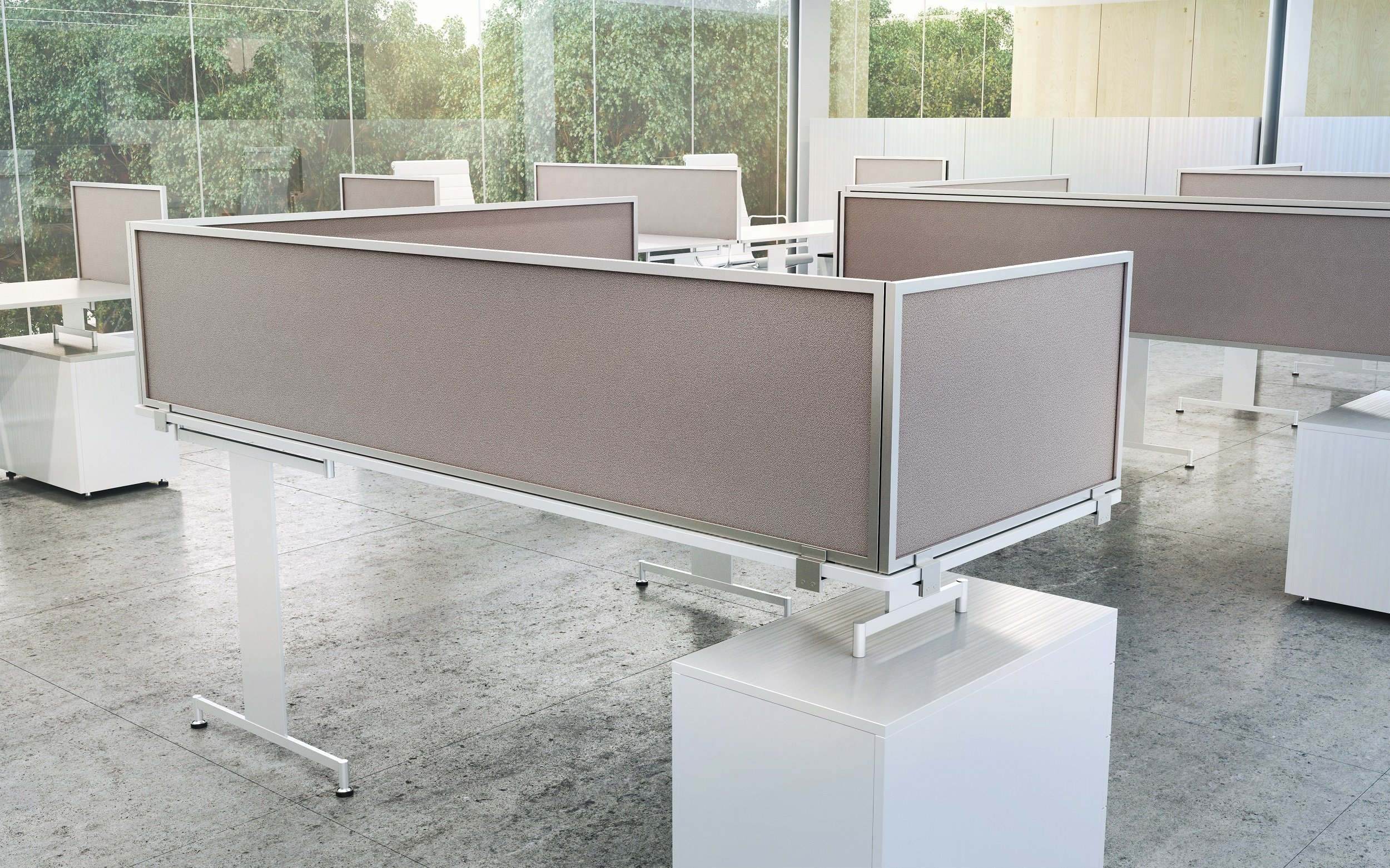 18'' Acoustical Desk Mounted Privacy Panel, 18'' X 72'', Java/Aluminum by OBEX