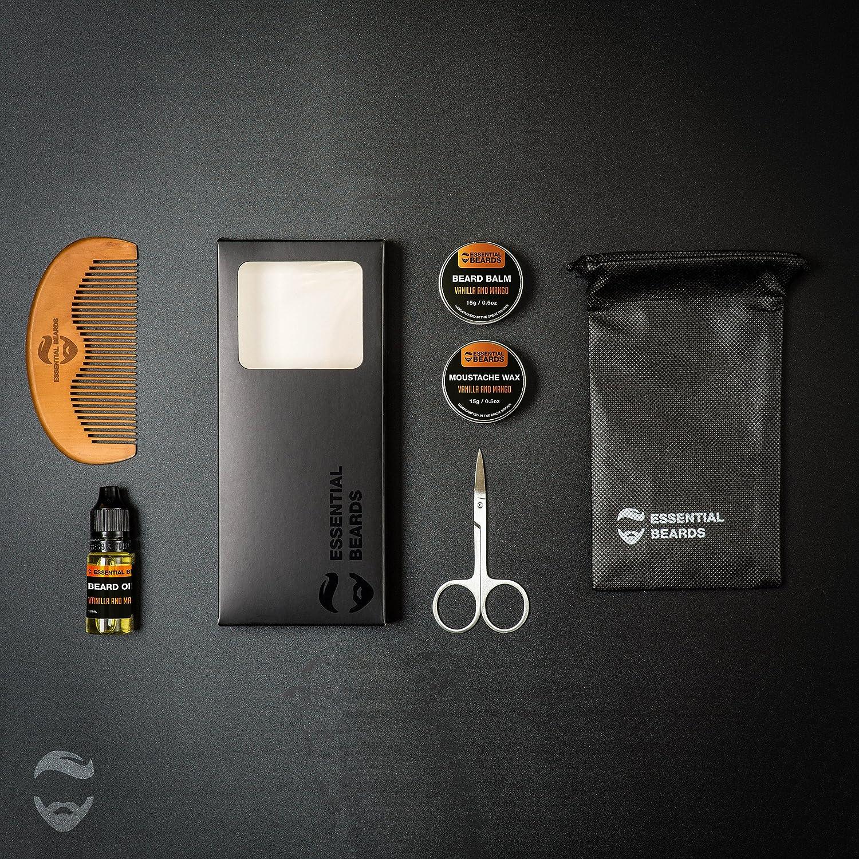 Beard Grooming Sets for Men, 6 Piece Kit - Beard Balm, Moustache Wax, Beard Oil, Comb, Scissors, Bag & Essential Beards Gift Box