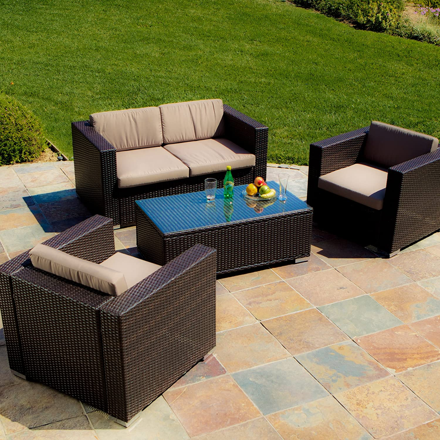 Amazon Best Selling Venice PE Wicker 4 Piece Outdoor Sofa