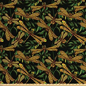 Ambesonne Dragonfly Fabric by The Yard, Pattern of Dragonflies and Green Olive Branches Mediterranean Nature Vibes, Decorative Fabric for Upholstery and Home Accents, 1 Yard, Dark Green