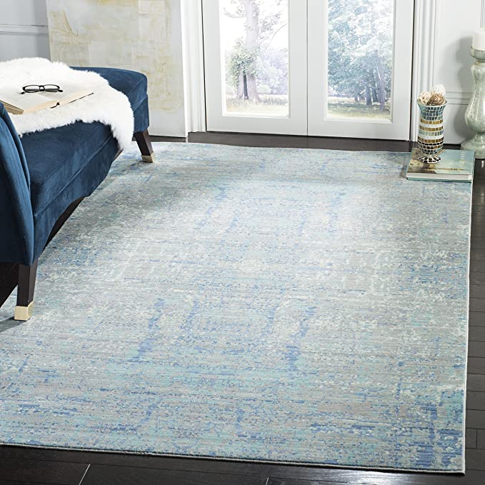 Safavieh Abella Vintage Inspired Rug Woven Polyester Carpet In Light Blue Multi 120 X 180 Cm Amazon Co Uk Kitchen Home