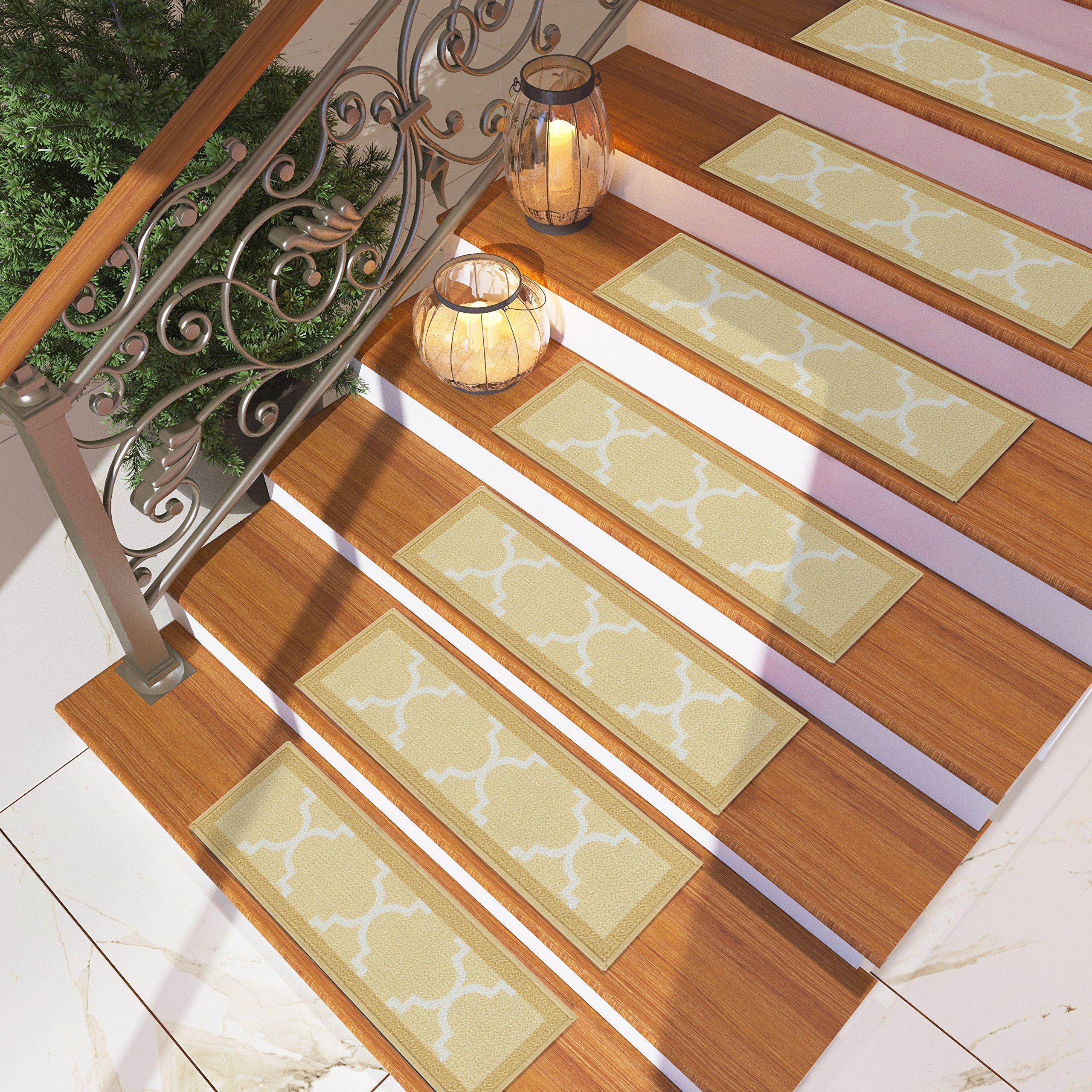 [Set of 7] Beige Stair Tread Rugs | Modern Design Trellis Lattice Carpet Treads [Easy to Clean] Rubber Non-slip Non-skid Backing | Nylon Low Pile 9'' x 27'' Stair Treads