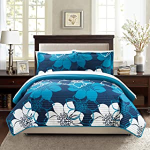 Chic Home Woodside 3 Piece Quilt Set, King, Blue