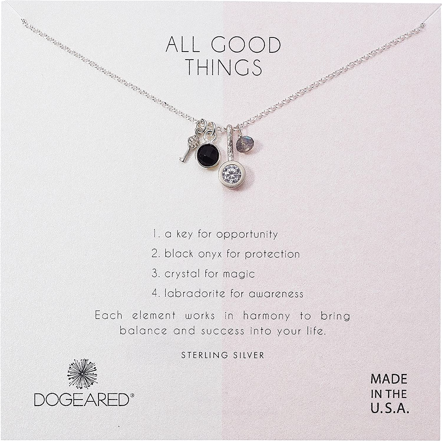 Dogeared Womens All Good Things, Black Onyx, Labradorite Cluster Necklace