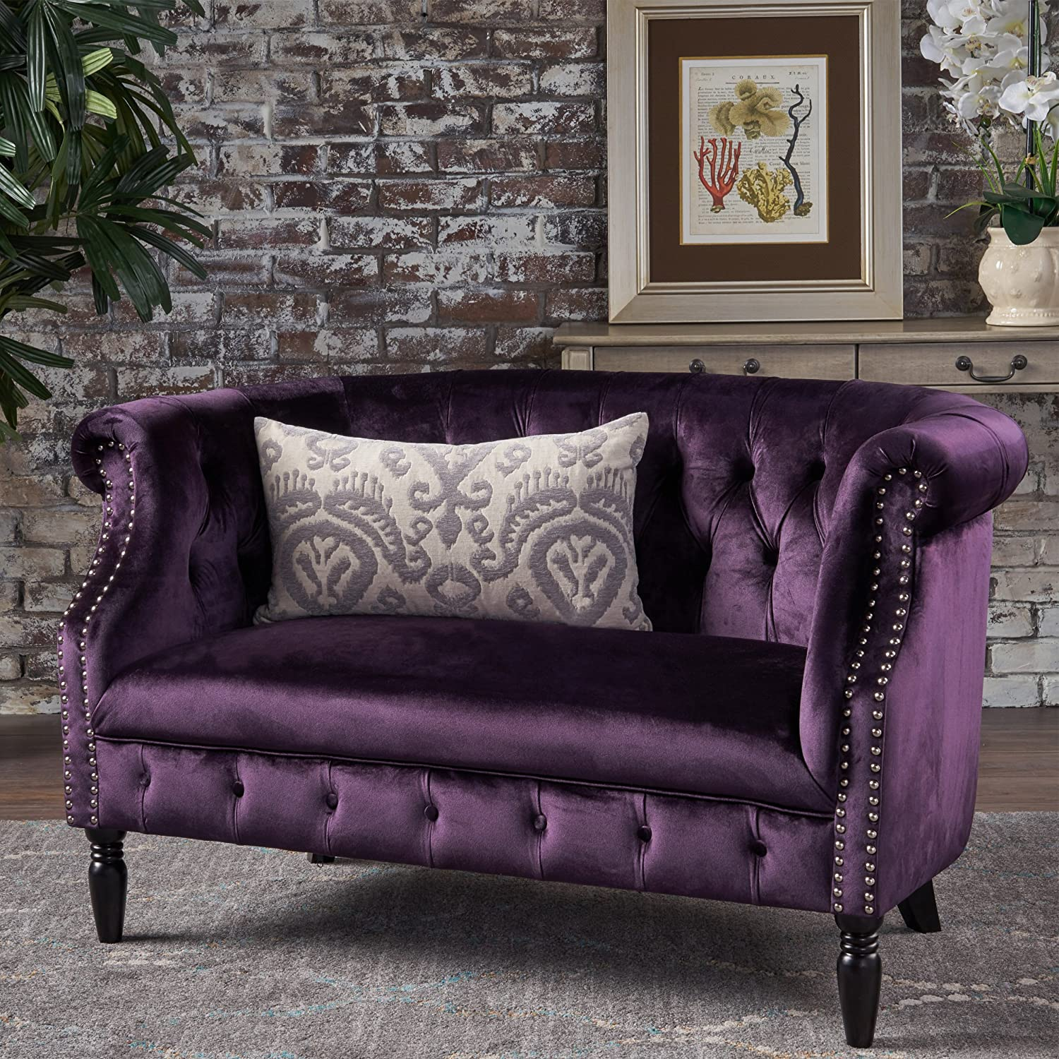 Christopher Knight Home 302212 Melaina BlackBerry Tufted Rolled Arm Velvet Chesterfield Loveseat Couch