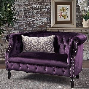 Christopher Knight Home 302212 Melaina BlackBerry Tufted Rolled Arm Velvet Chesterfield Loveseat Couch