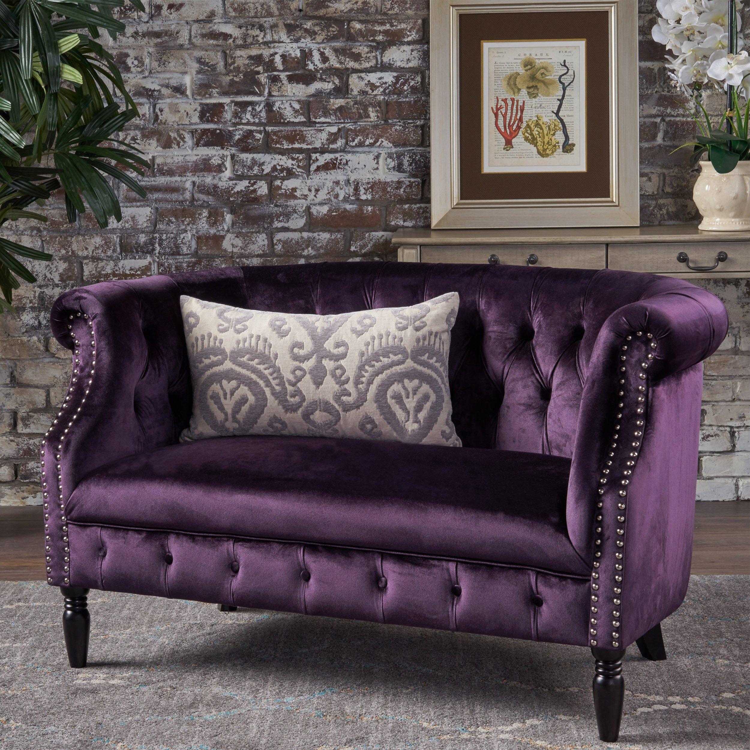 Christopher Knight Home Melaina BlackBerry Tufted Rolled Arm Velvet Chesterfield Loveseat Couch by Christopher Knight Home